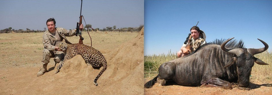 Hunter with Wildebeest and Leopard