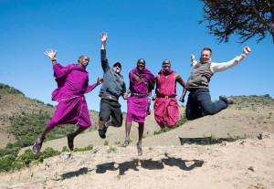Maasai People with Tourists